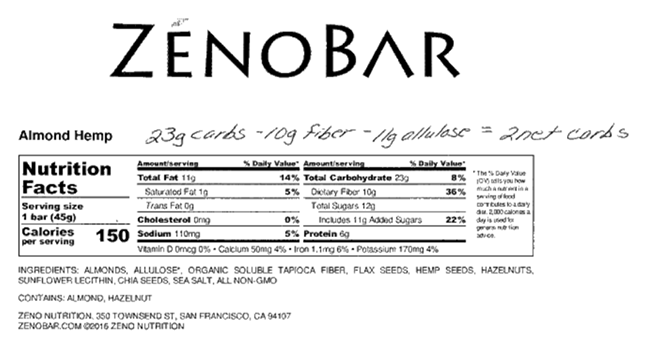 ZenoBars for Diabetes: Are 'Net Carbs