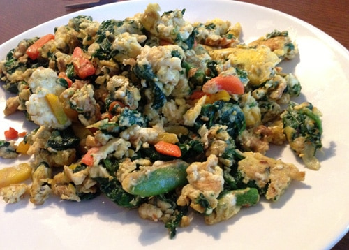 Eggs and Vegetables Fried in Coconut Oil