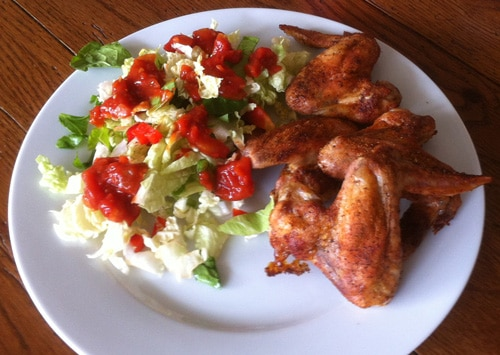 Grilled Chicken Wings with Salad