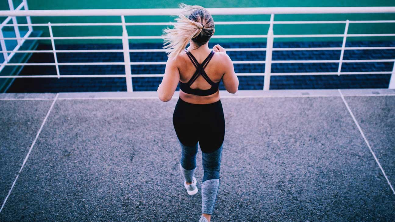 Femme, exercice, dans, a, stade